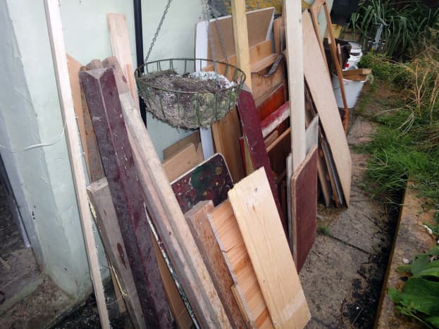 Sorting out some of my wood for storage.