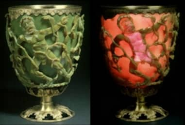 The Lycurgus Cup—the cup is green when viewed when light come from outside the cup and red when the light comes from inside the cup.