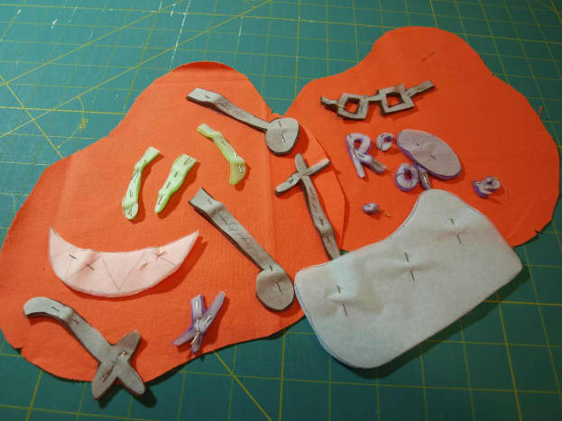 1. Cut out all of the individual pattern pieces.