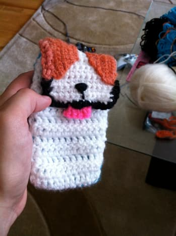 Crocheted patches for spots.