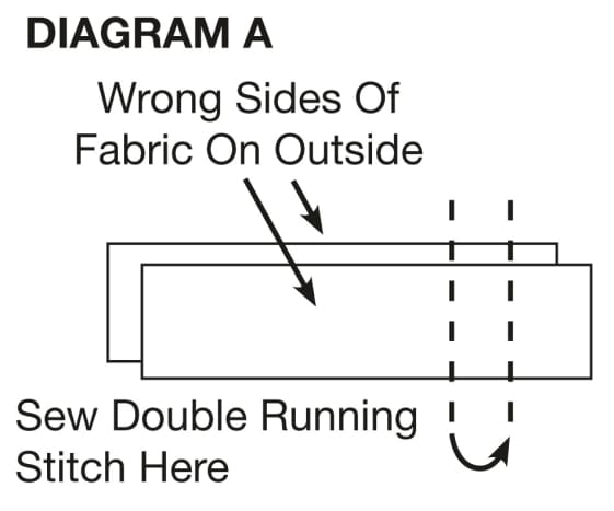 For strip ends, place right sides of fabric together. Then sew a double running stitch across the ends, making sure to knot the thread at the start and sew a knot at the end so the seam doesn't come undone. Trim off excess fabric.