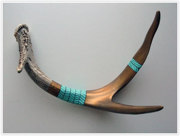 Turquoise is a popular color choice with painted antlers, as it emulates the Southwest's Native American jewelry.
