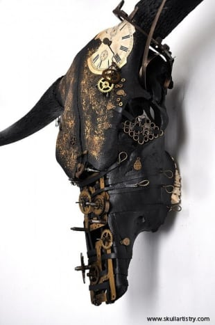 This cow is one of hundreds of beautifully and strangely decorated skulls from Skull Artistry.
