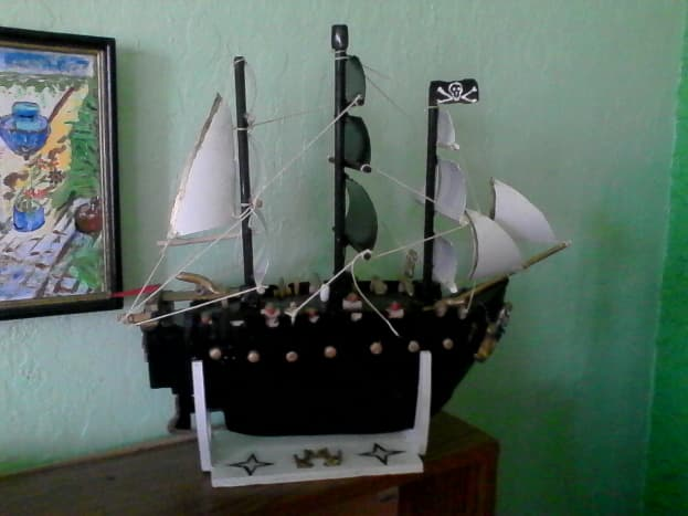 A homemade pirate ship. Avast ye lubbers!