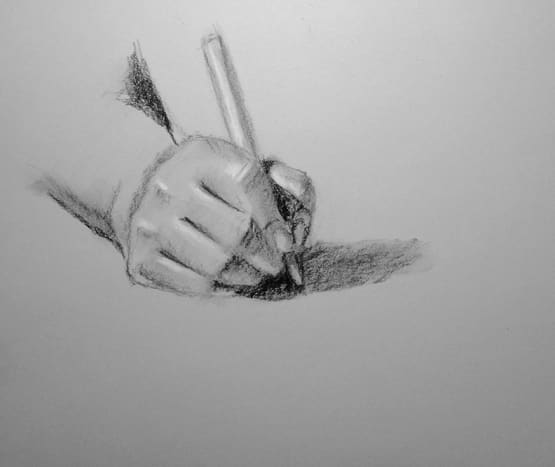 Charcoal drawing of a hand. #1