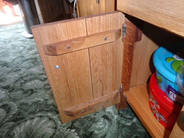 Door panel braced with oak timber.