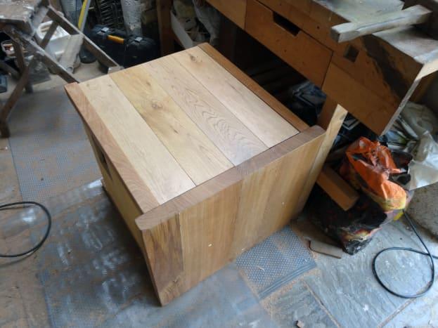 Side panel made from oak floorboards.