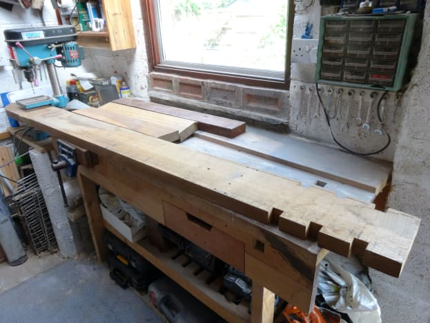 The oak timber from which the table top is to be made.