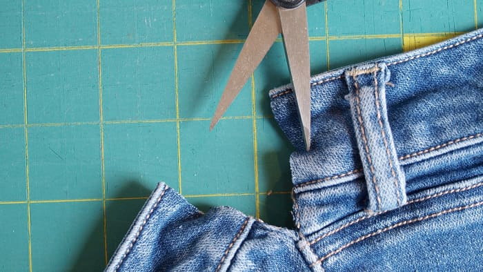 Expanding the Jeans Step 2: Snip down to the bottom of the back yoke.