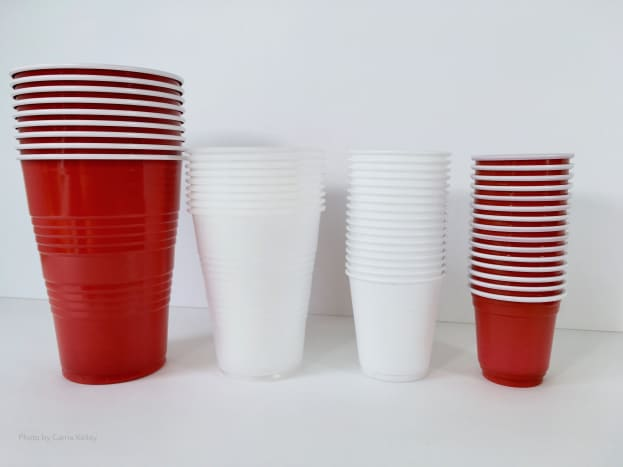Pictured here is an assortment of plastic cups for pour painting.