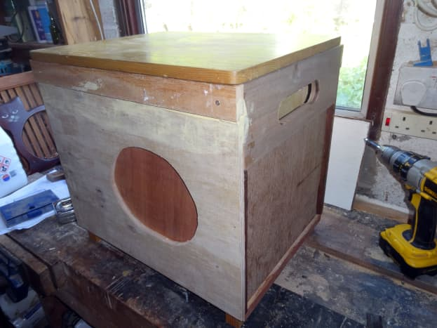 Using wood filler to fill unwanted imperfections in the recycled wood.