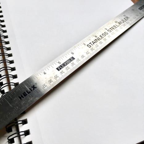 "An 18"" stainless steel cork-back ruler"