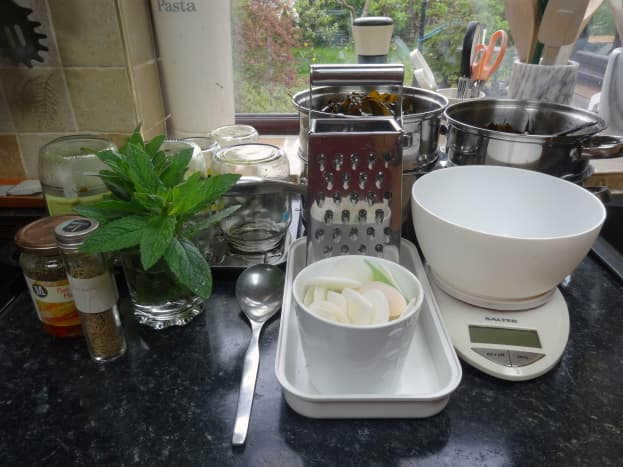 Ingredients and utensils made ready before starting.