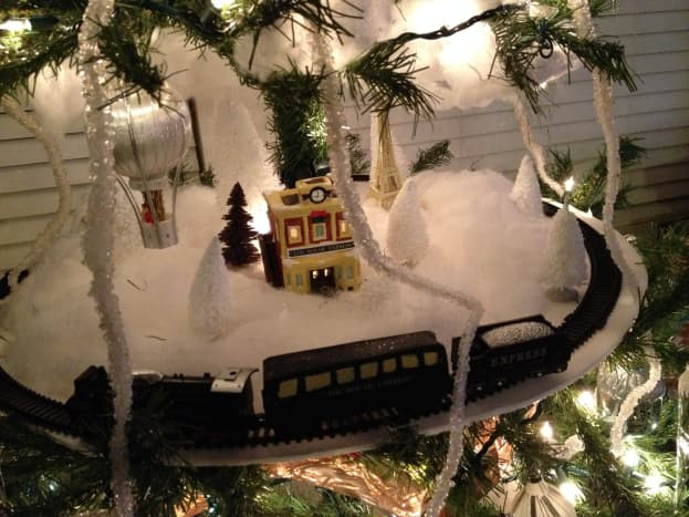 Steampunk tree with a train in the middle