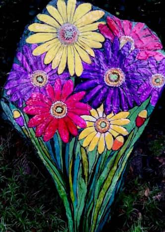 Hand-Painted Gerbera Daisies Rock