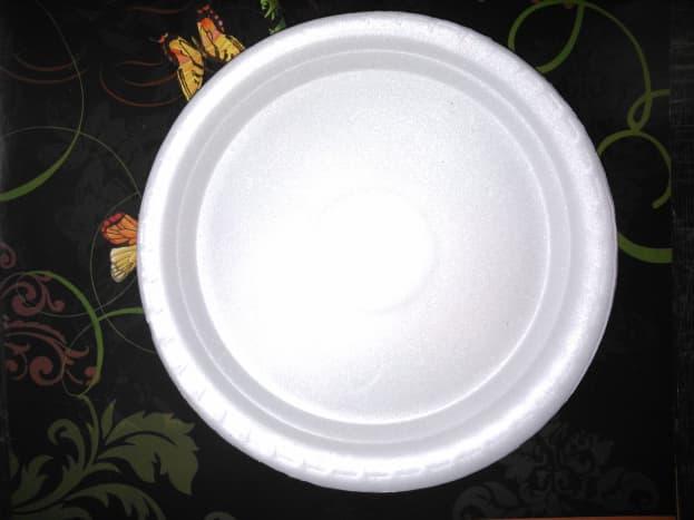 A thermocol styrofoam plate.
