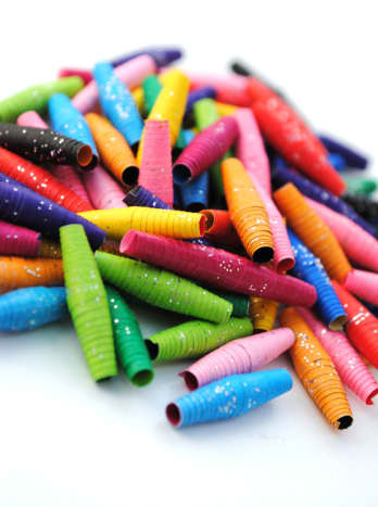 These paper beads are made from origami paper.