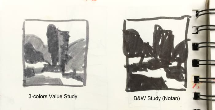 """The value studies done as planning tools before painting """"Hopes and Smiles"""" (see finished painting on next photo)"""