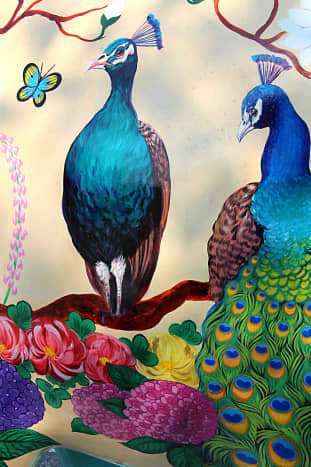 Peacock Seasons - by  Rungtiwa Shianglum. A design by an artist resident in Chiang Mai, reflecting the natural beauty brought about by the changes in the seasons, and featuring exquisite images of peacocks