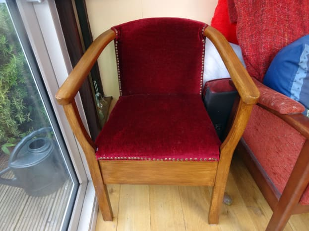 This armchair is the first item of furniture I ever reupholstered.