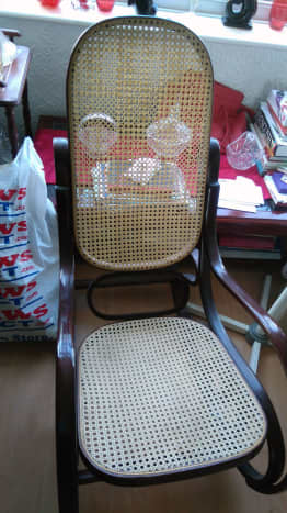 The original rocking chair before it's upholstered.