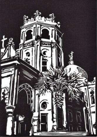 Linocut of Sacred Heart Catholic Church in Galveston, Texas titled Historic Galveston Church created by Peggy Woods