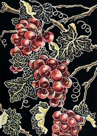 On the Vine hand colored linocut by Peggy Woods