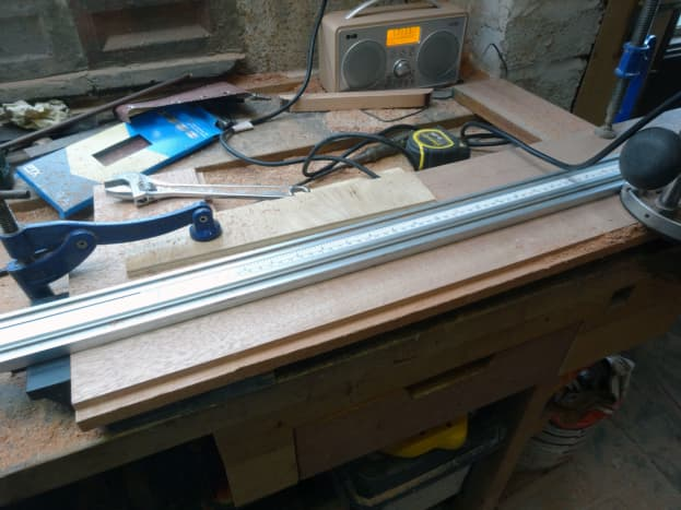 Routing the recessed lip for fitting the glass to the door