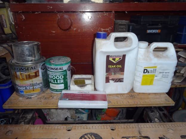 Materials used for cleaning, the finishing touches, varnishing and waxing