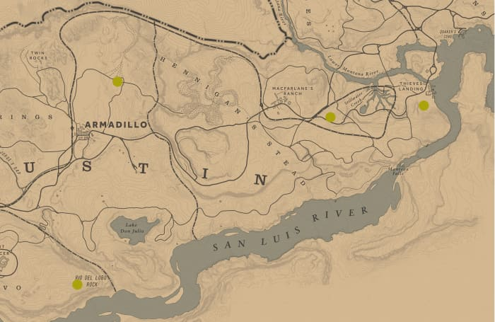 The yellow dots are the locations of random Treasure Maps you have a chance of finding. Best spotted at night thanks to a nearby lantern. They will also be highlighted in Eagle Eye.