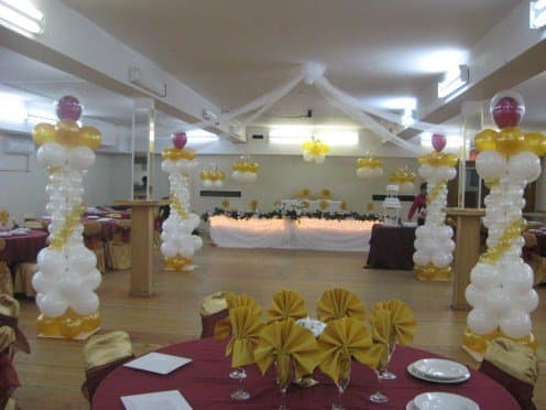 Although balloons make a wedding look more festive, it reminds me of a birthday party. I have seen some special balloon displays that look halfway decent, but they have to be done right to look classy.
