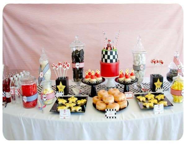 The snacks table at the Paisley Pedal Events Mario Kart-themed birthday party.