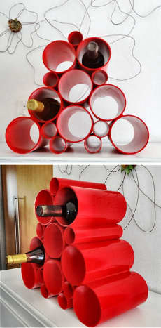 Trendy wine rack made from PVC pipe segments that are glued together. This can make a fabulous homemade gift for a guy who has everything.