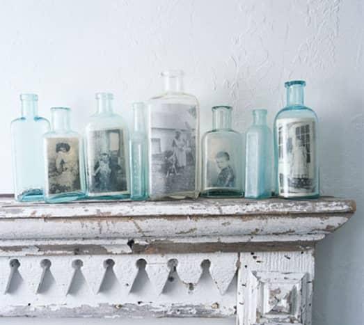 Photographs inside vintage bottles