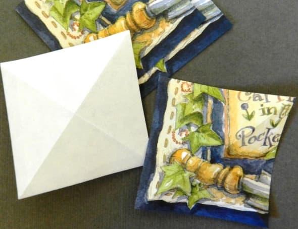 A) Fold tile two ways diagonally
