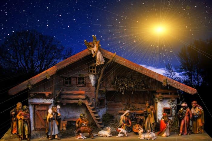 A nativity scene depicts the birth of Jesus.