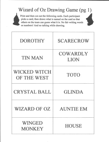 Here is a photo of page 1 of the items for the Wizard of Oz Drawing Game. You can get the .pdf to print by clicking on the orange link at the beginning of this article.