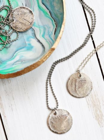 Fingerprint Pendants for Mother's Day Made With Precious Metal Clay