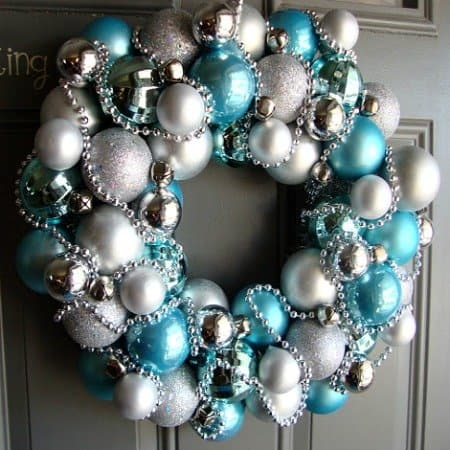 Image #1 - Turquoise and Silver Christmas Ornament Wreath