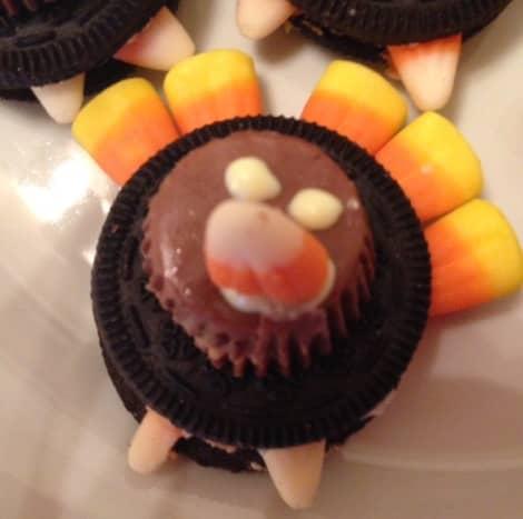 Oreo, mini peanut butter cup, candy corn turkey