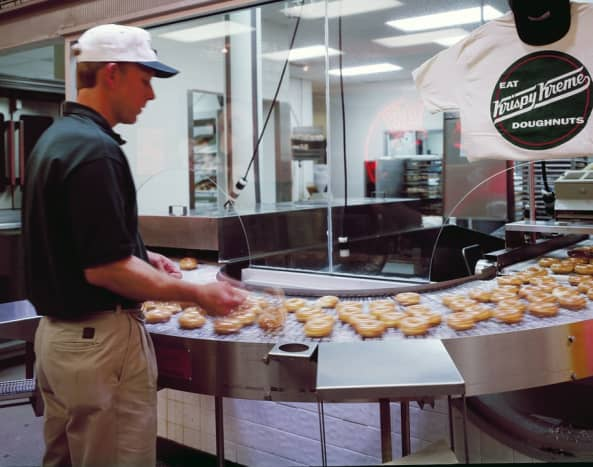 Our UDFs have at least one large case of Krispy Kreme donuts.