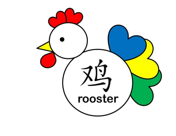 Shapes rooster with hearts in color.