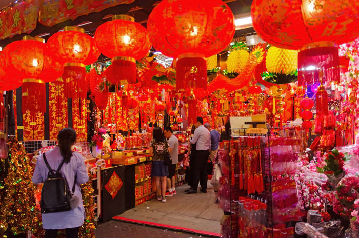 Seas of auspicious red are very common during Chinese New Year in Singapore.