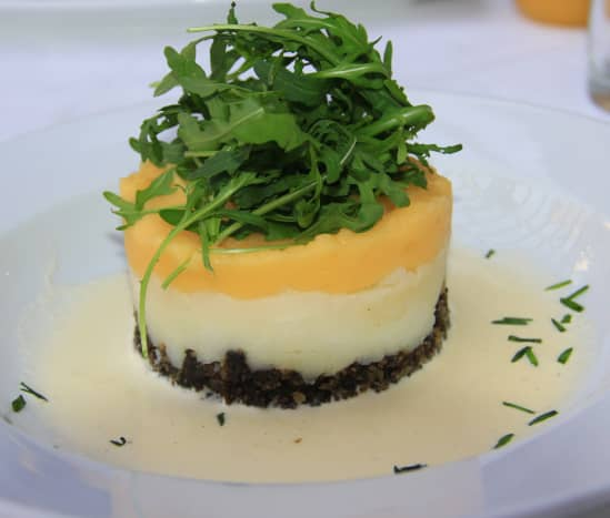 Haggis, neeps and tatties served as a starter (neeps are swede and tatties are potatoes)