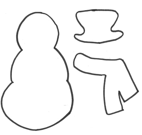 Printable Snowman Template: Snowman, Hat, and Scarf Template