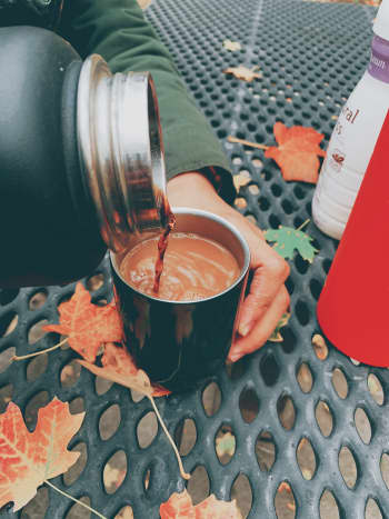 Sipping coffee while walking outside under the colorful canopy is one of my favorite fall pastimes.