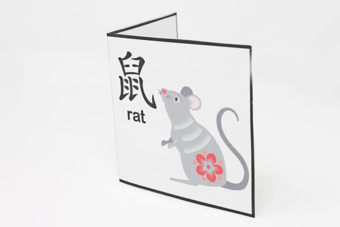 Here is the front of the Year of the Rat pop-up card