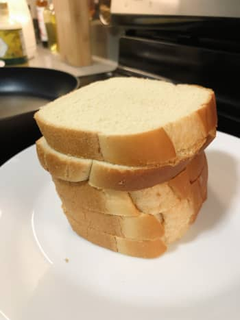 I like to use brioche loaf bread to make French toast, but you are welcome to use any bread you have at home.