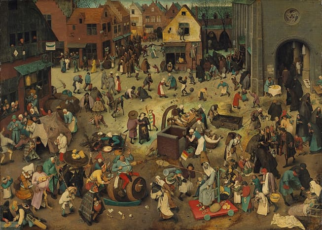 """""""The Fight Between Mardi Gras and Lent,"""" a 1559 painting by Pieter Bruegel the Elder, underscores the longstanding cultural conflict that European Carnival celebrations have had with traditional Christian values."""