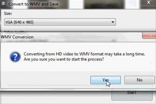 """Click """"Yes"""" if a dialog box appears notifying you that your conversion could take a long time."""